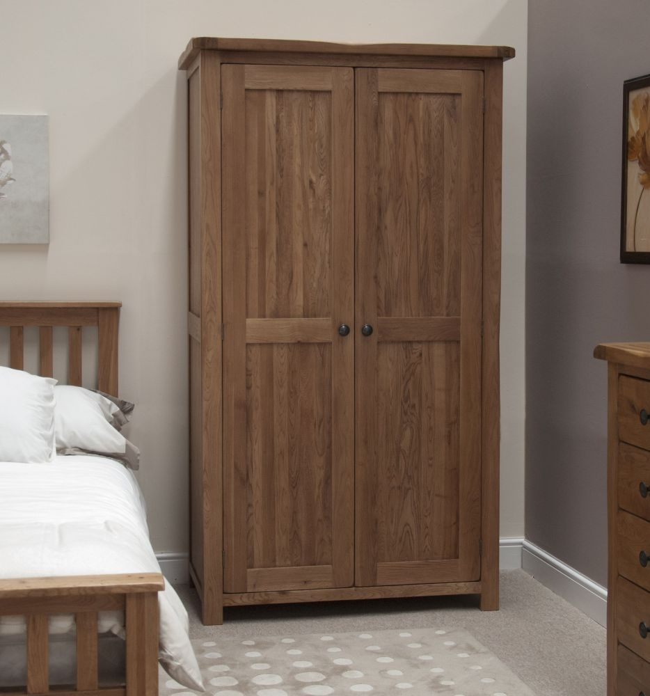 Homestyle GB Rustic Oak 2 Door Double Wardrobe