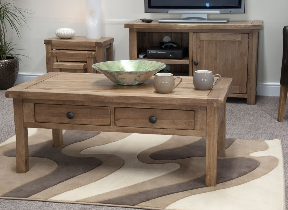 Homestyle GB Rustic Oak 2 Drawer Storage Coffee Table