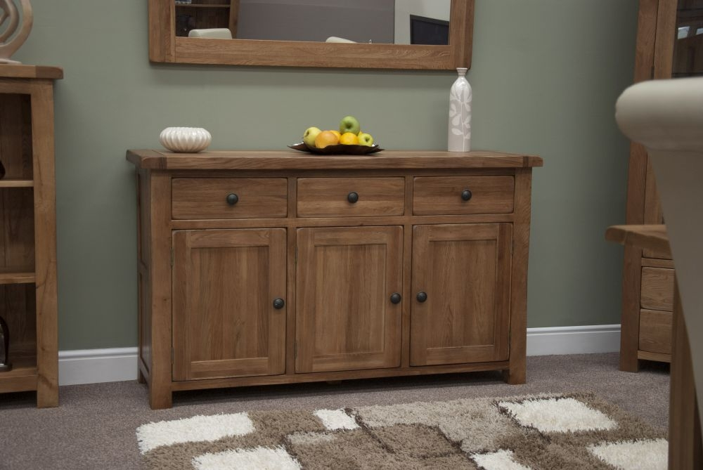 Homestyle GB Rustic Oak 3 Door 3 Drawer Wide Sideboard