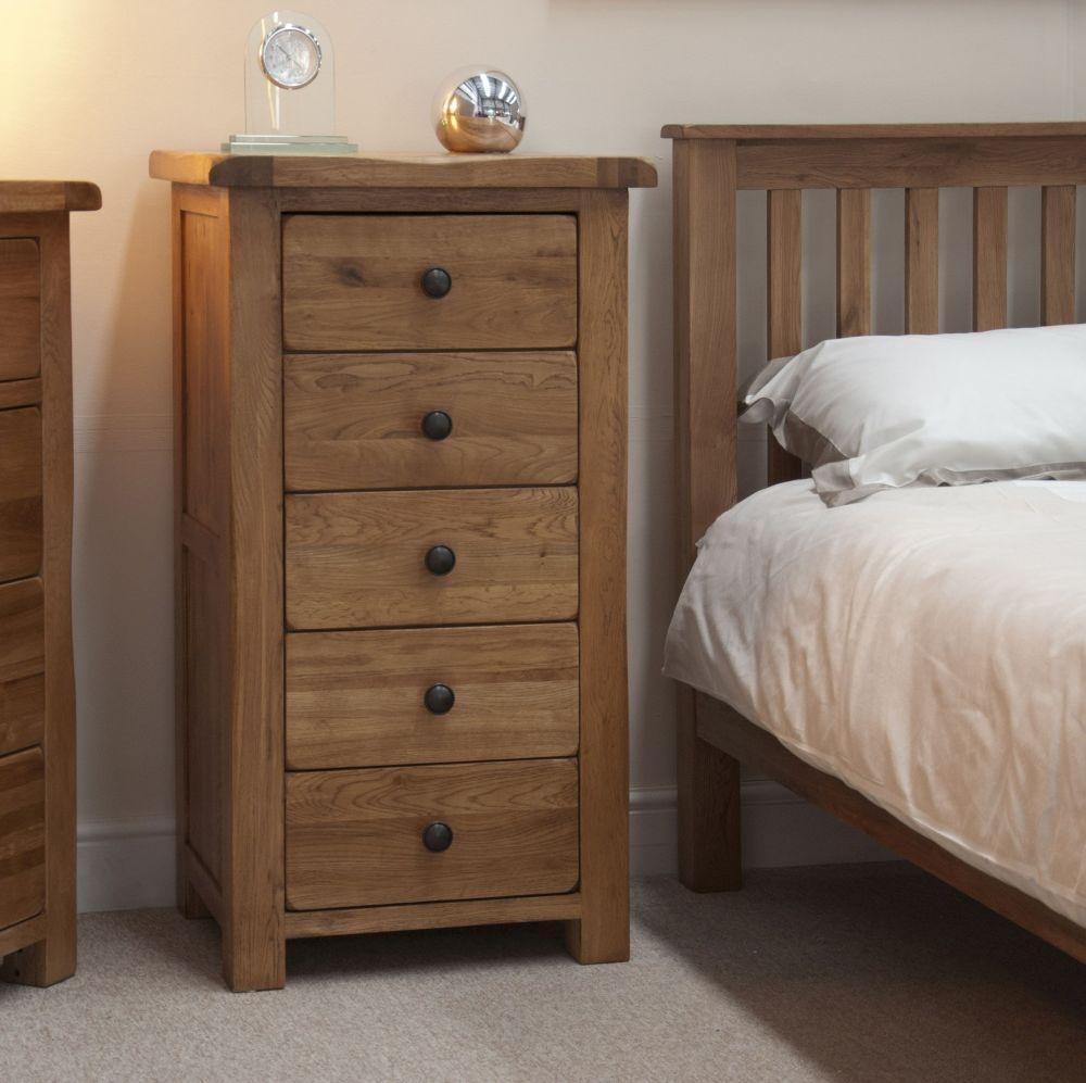 Homestyle GB Rustic Oak 5 Drawer Narrow Chest