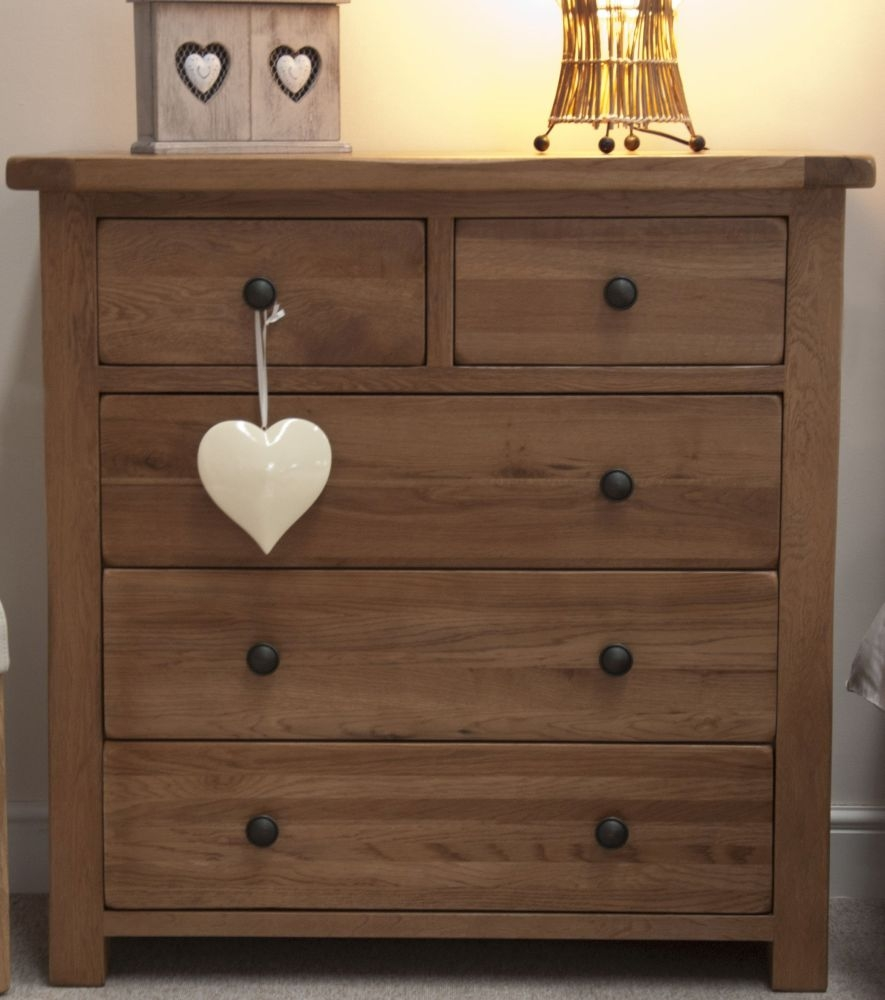 Homestyle GB Rustic Oak Chest of Drawer - 2 Over 3 Drawer