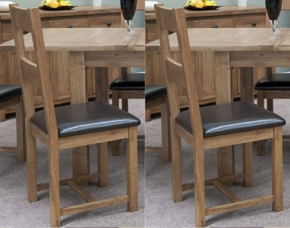 Homestyle GB Rustic Oak Leather Seat Dining Chair (Pair)