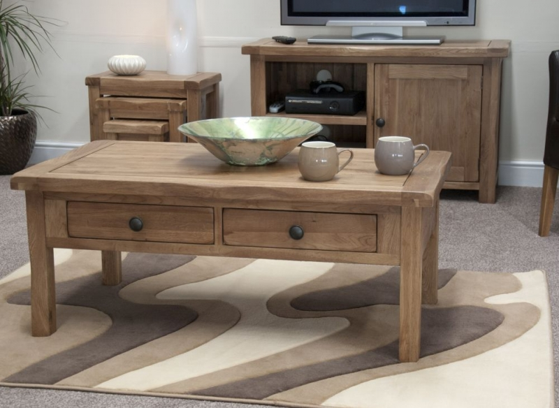 Homestyle GB Rustic Oak Storage Coffee Table