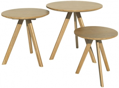 Homestyle GB Scandic Oak Round Nest of Tables