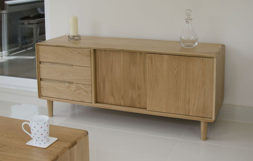 Homestyle GB Scandic Oak 2 Door 3 Drawer Tall Sideboard
