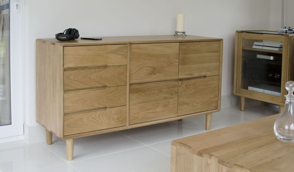Homestyle GB Scandic Oak 4 Door 4 Drawer Tall Large Sideboard