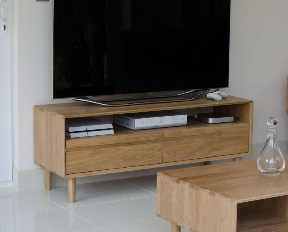 Homestyle GB Scandic Oak TV Unit - Medium 2 Drawer