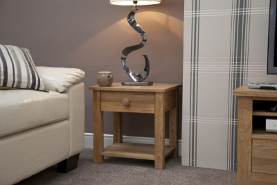 Homestyle GB Torino Oak 1 Drawer Lamp Table
