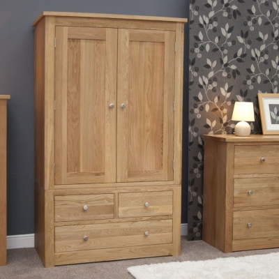 Homestyle GB Torino Oak 2 Door 3 Drawer Wardrobe