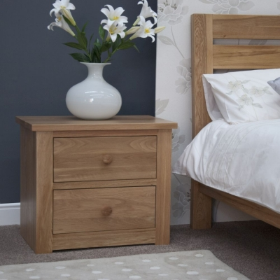 Homestyle GB Torino Oak Bedside Cabinet - 2 Drawer Wide