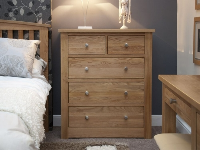 Homestyle GB Torino Oak Chest of Drawer - 2 Over 3 Drawer