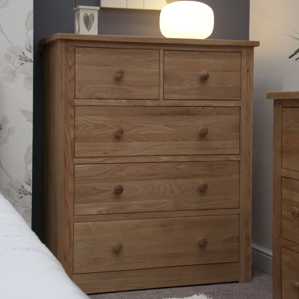 Homestyle GB Torino Oak 2+3 Drawer Wide Chest