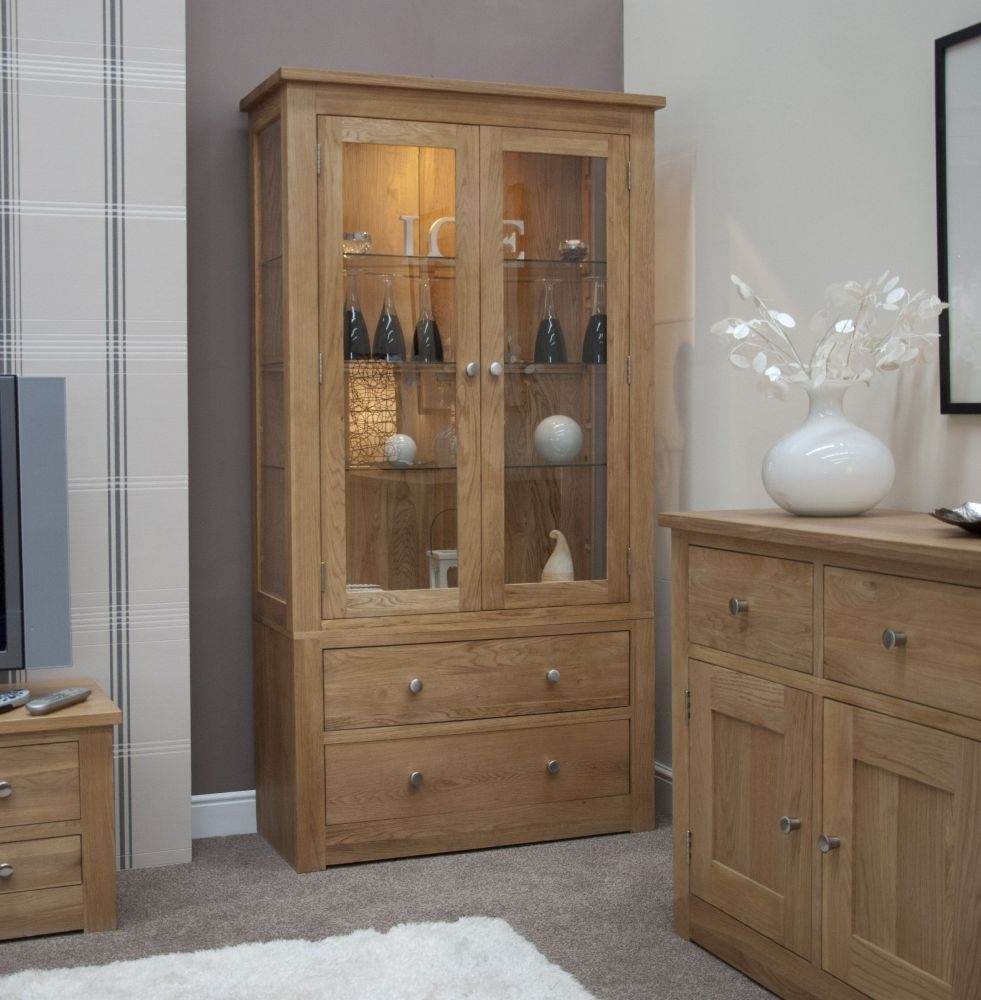 Homestyle GB Torino Oak 2 Door 2 Drawer Glass Display Cabinet