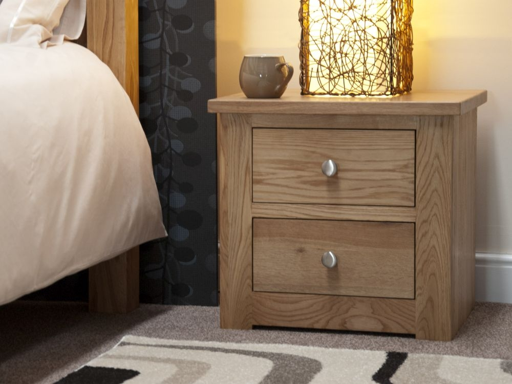 Homestyle GB Torino Oak 2 Drawer Narrow Bedside Cabinet