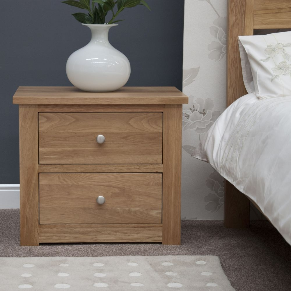 Homestyle GB Torino Oak 2 Drawer Wide Bedside Cabinet