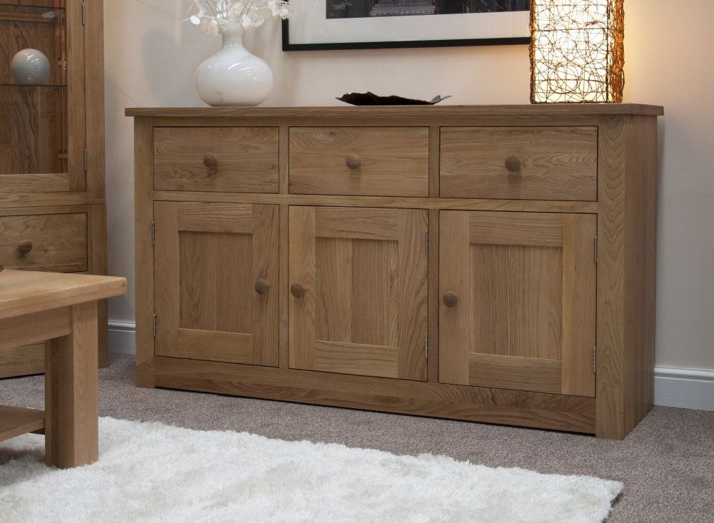 Homestyle GB Torino Oak 3 Door 3 Drawer Wide Sideboard