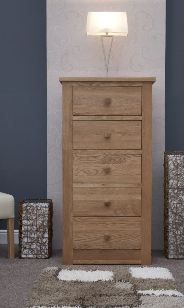 Homestyle GB Torino Oak 5 Drawer Narrow Chest