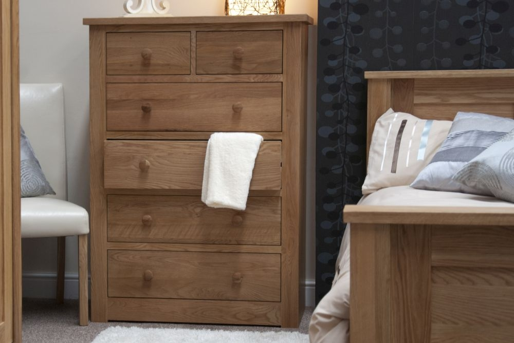Homestyle GB Torino Oak Chest of Drawer - 2 Over 4 Drawer