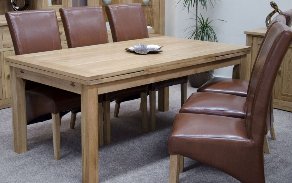 Homestyle GB Torino Oak Dining Set - Large Draw Leaf with 6 Contempo Tan Dining Chairs