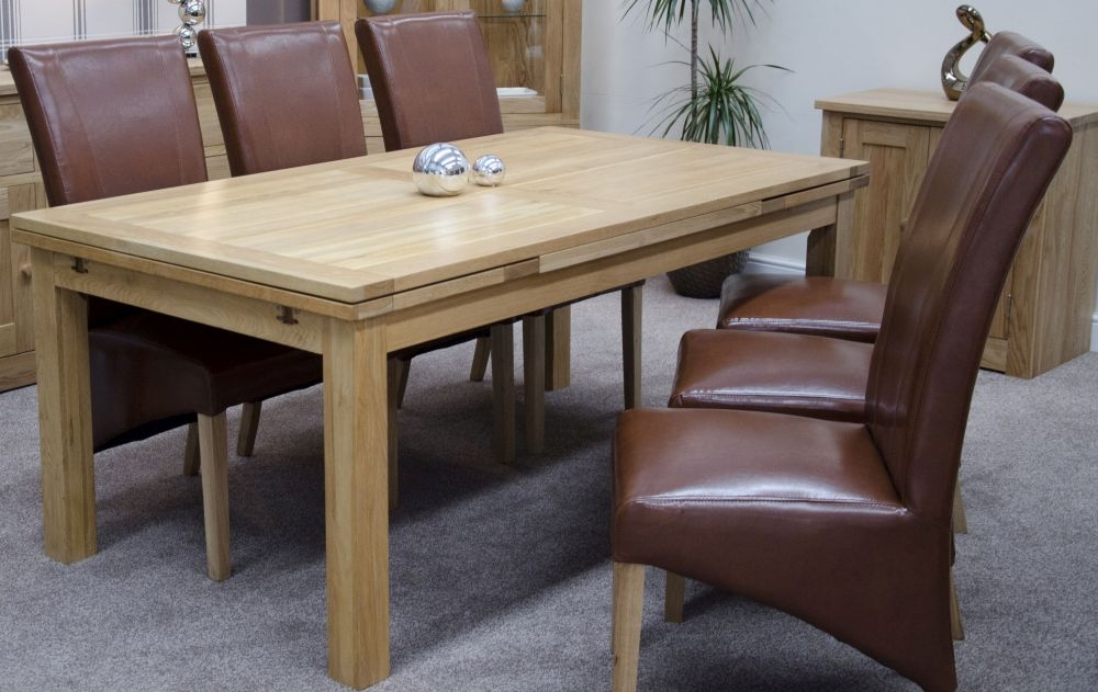 Homestyle GB Torino Oak Panel Dining Set - Large Draw Leaf with 6 Contempo Tan Dining Chairs