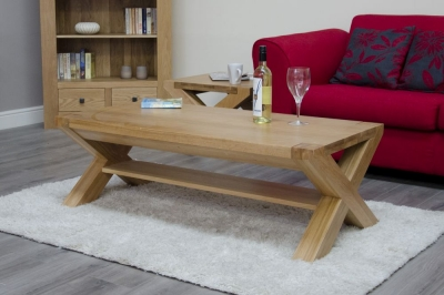 Homestyle GB Trend Oak Large Coffee Table with X Leg