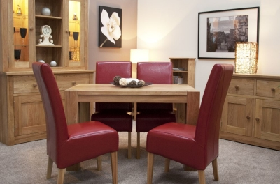 Homestyle GB Trend Oak Small Dining Set and 4 Oslo Red Bycast Leather Chairs