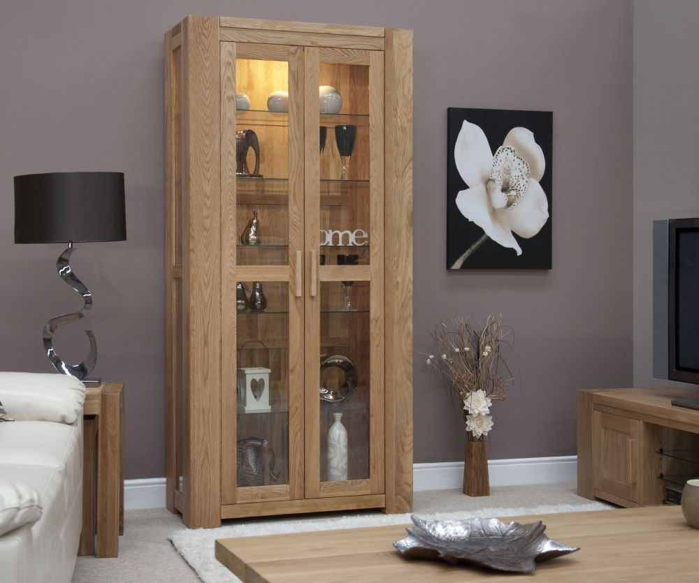Buy Homestyle Gb Trend Oak 2 Door Glass Display Cabinet Online Cfs Uk