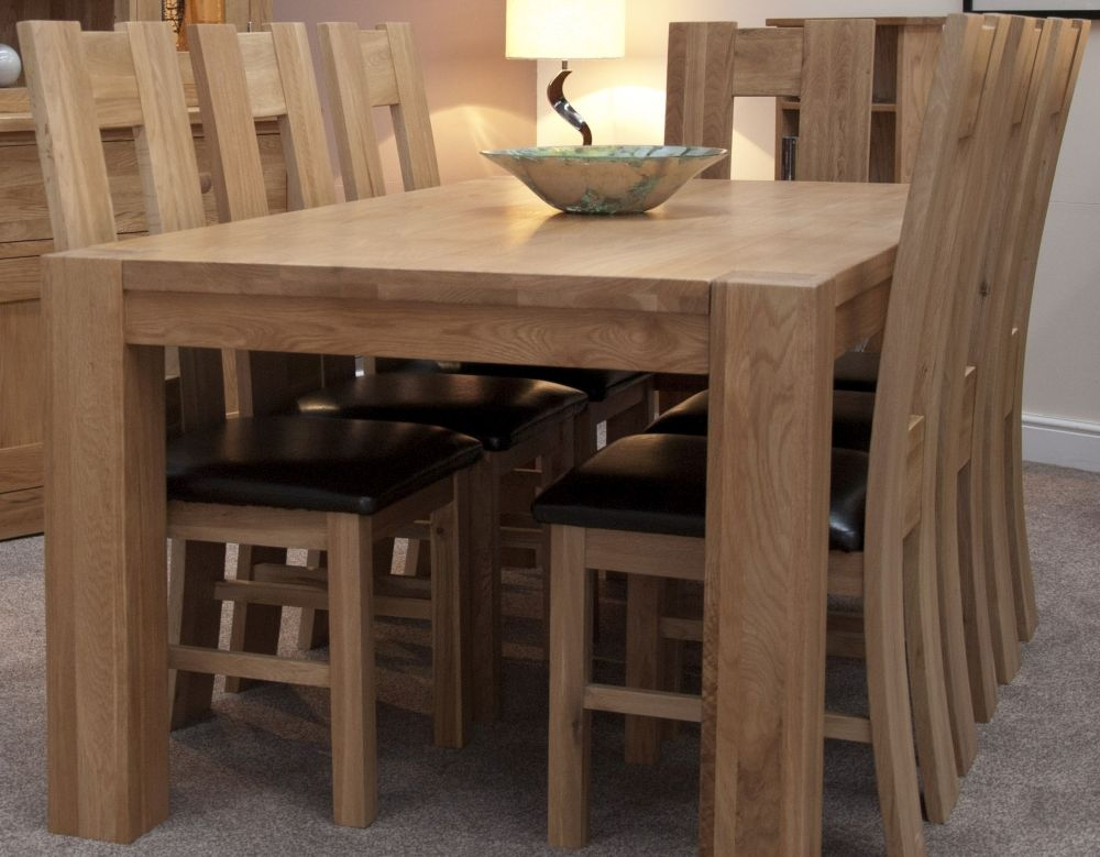 homestyle gb trend oak dining set large with 6 high bycast leather chairs
