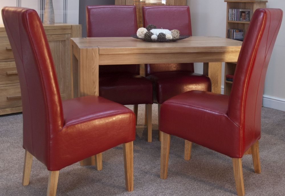 Homestyle GB Trend Oak Dining Set - Small with 4 Oslo Red Leather Chairs