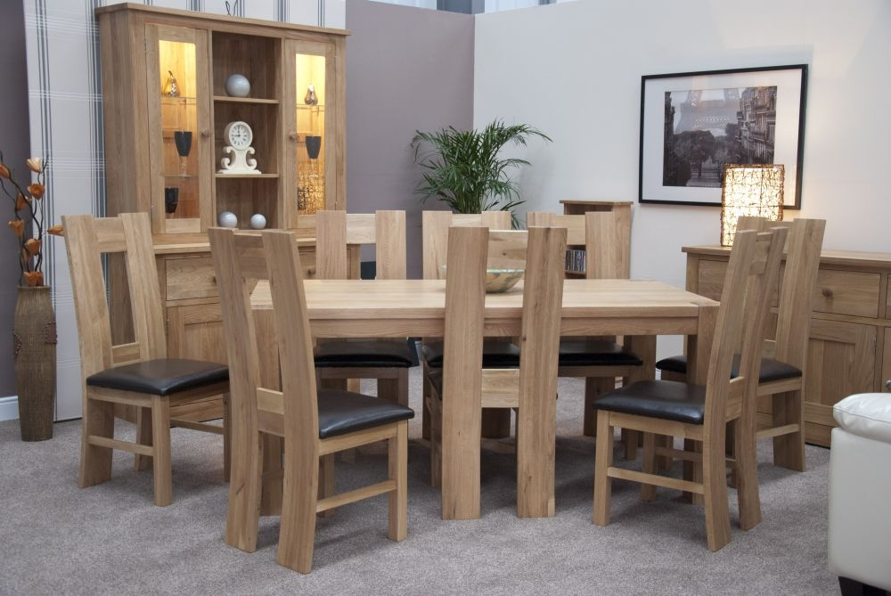 Homestyle GB Trend Oak Large Dining Set and 8 High Bycast Leather Chairs