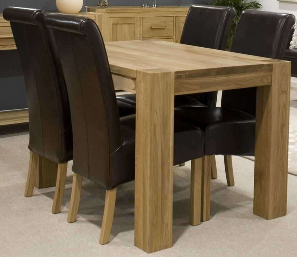 Homestyle GB Trend Oak Small Rectangular Dining Set with 4 Richmond Brown Leather Chairs - 125cm