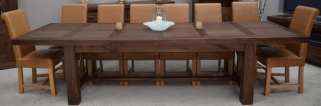 Homestyle GB Walnut Dining Set - Grand Extending with 8 Louisa Tan Chairs