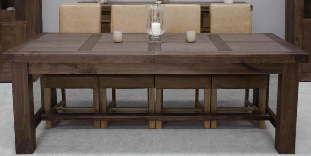 Homestyle GB Walnut Dining Set - Grand Extending with 4 Louisa Tan Chairs