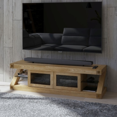 Homestyle GB Z Designer Oak Glass Plasma TV Unit