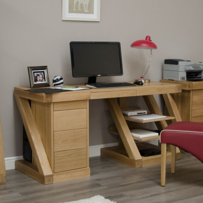 Homestyle GB Z Designer Oak Double Pedestal Large Desk