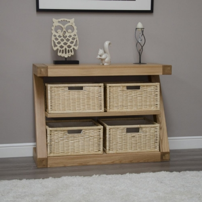 Homestyle GB Z Oak Designer Basket Console Table