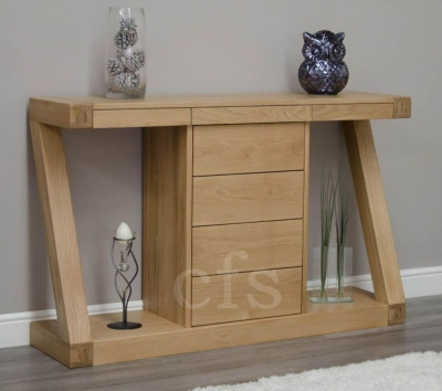 Homestyle GB Z Oak Designer Console Table with Drawers - Wide