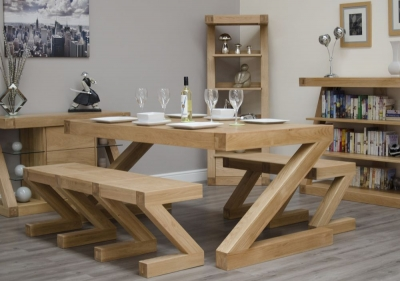 Homestyle GB Z Oak Rectangular Designer Dining Set with 2 Benches - 180cm