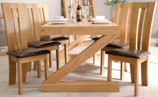 Homestyle GB Z Oak Designer Dining Set - Large with 6 Venezia Chairs