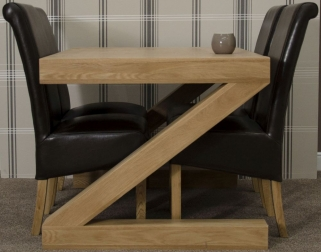 Homestyle GB Z Oak Designer Dining Set - Small with 4 Richmond Black Chairs