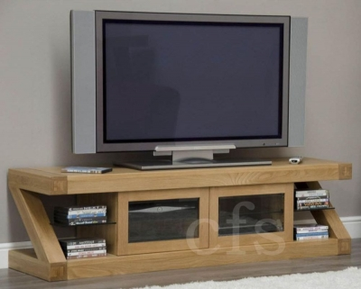 Homestyle GB Z Oak Designer Glass Plasma TV Unit