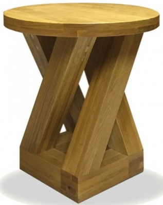 Homestyle GB Z Oak Designer Lamp Table - Round 4 Leg