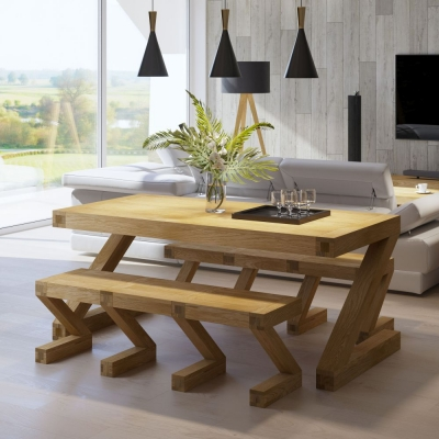 Homestyle GB Z Designer Oak Dining Set and 2 Benches