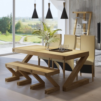 Homestyle GB Z Designer Oak Dining Table and 4 Wave Cream Bone Chairs and Bench