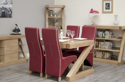 Homestyle GB Z Designer Oak Dining Set and 4 Wave Ruby Bone Chairs