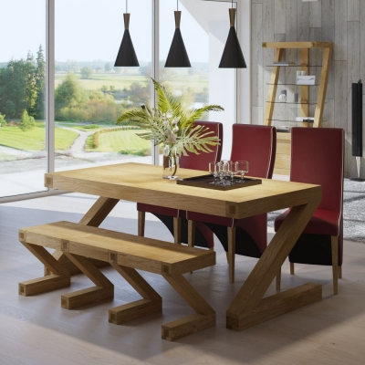 Homestyle GB Z Designer Oak Dining Set and 4 Wave Ruby Bone Chairs and Bench