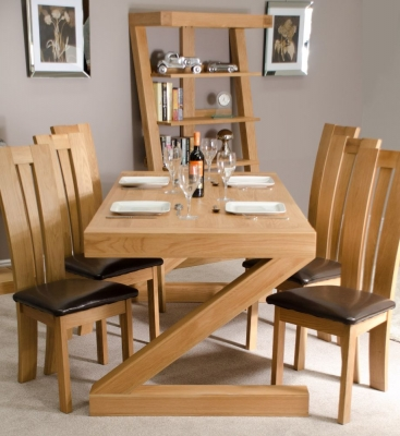 Homestyle GB Z Designer Oak Dining Set and 6 Venezia Chairs