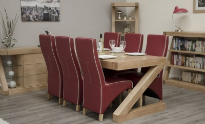 Homestyle GB Z Designer Oak Dining Set and 6 Wave Ruby Bone Chairs