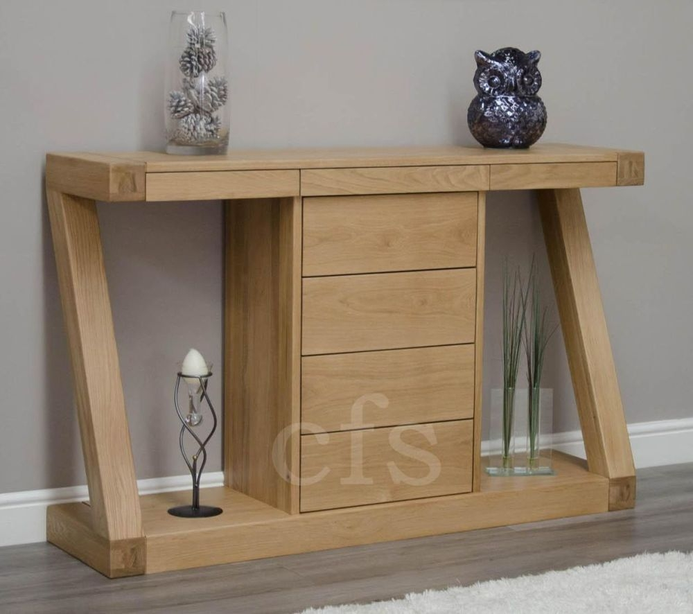 Buy Homestyle Gb Z Oak Designer Console Table With Drawers Wide Online Cfs Uk