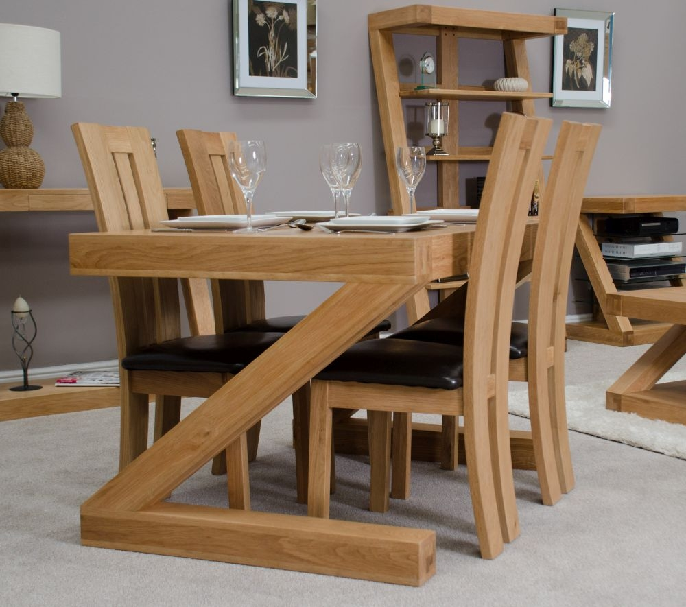 Homestyle GB Z Oak Designer Rectangular Dining Set with 4 Venezia Chairs - 120cm